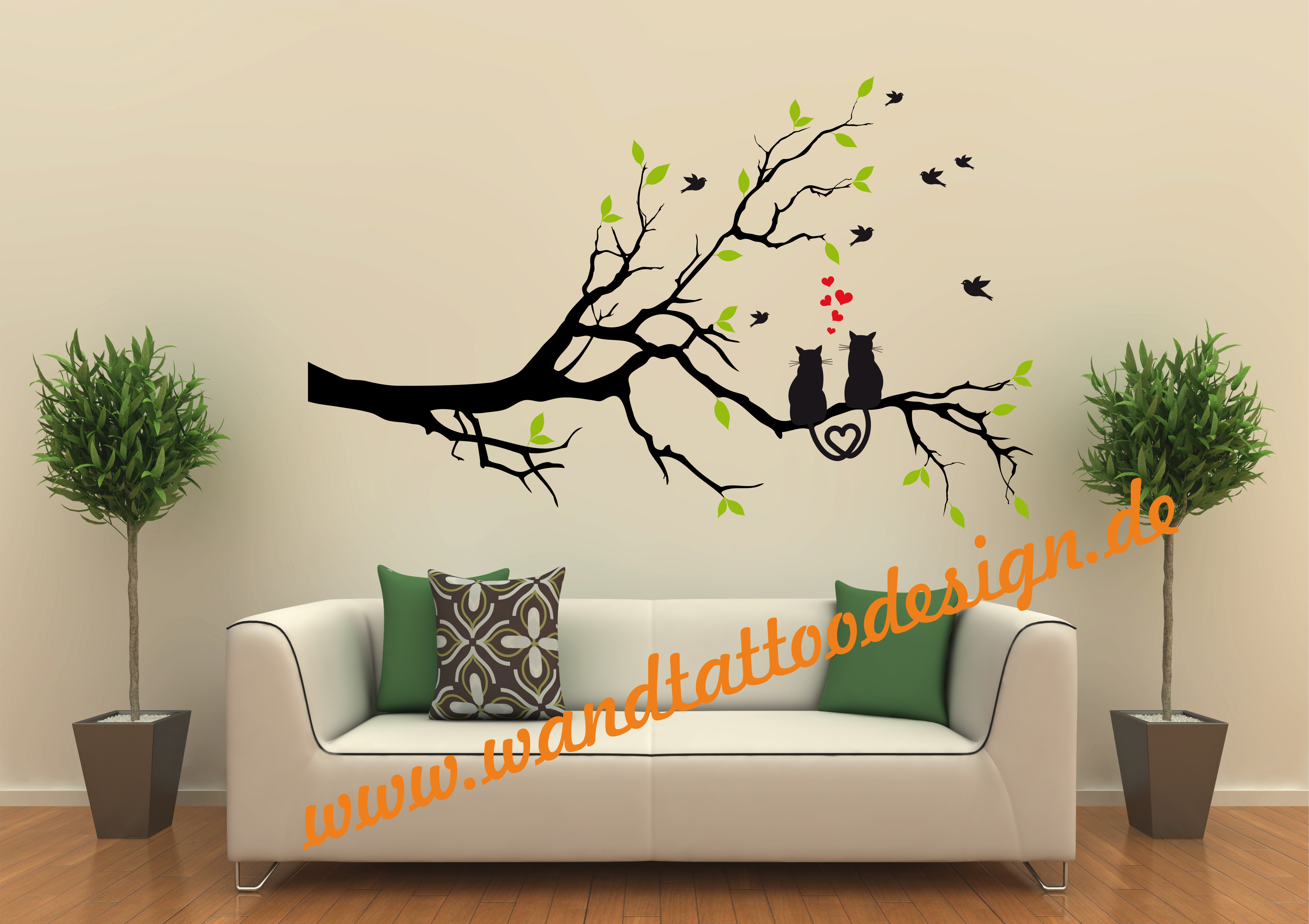 wandtattoo katze katzen auf ast liebespaar herzen baum. Black Bedroom Furniture Sets. Home Design Ideas