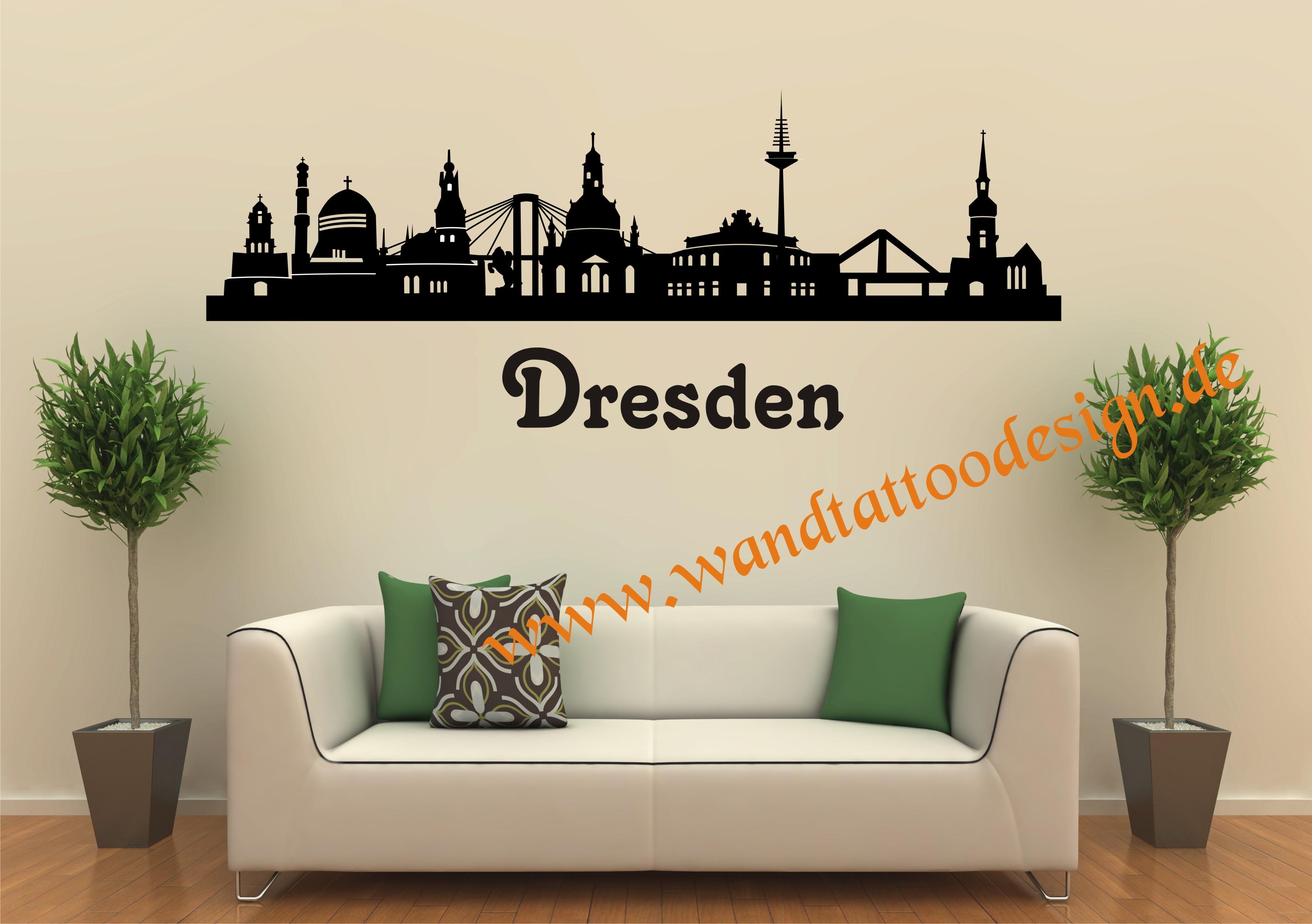 wandtattoo skyline von dresden. Black Bedroom Furniture Sets. Home Design Ideas