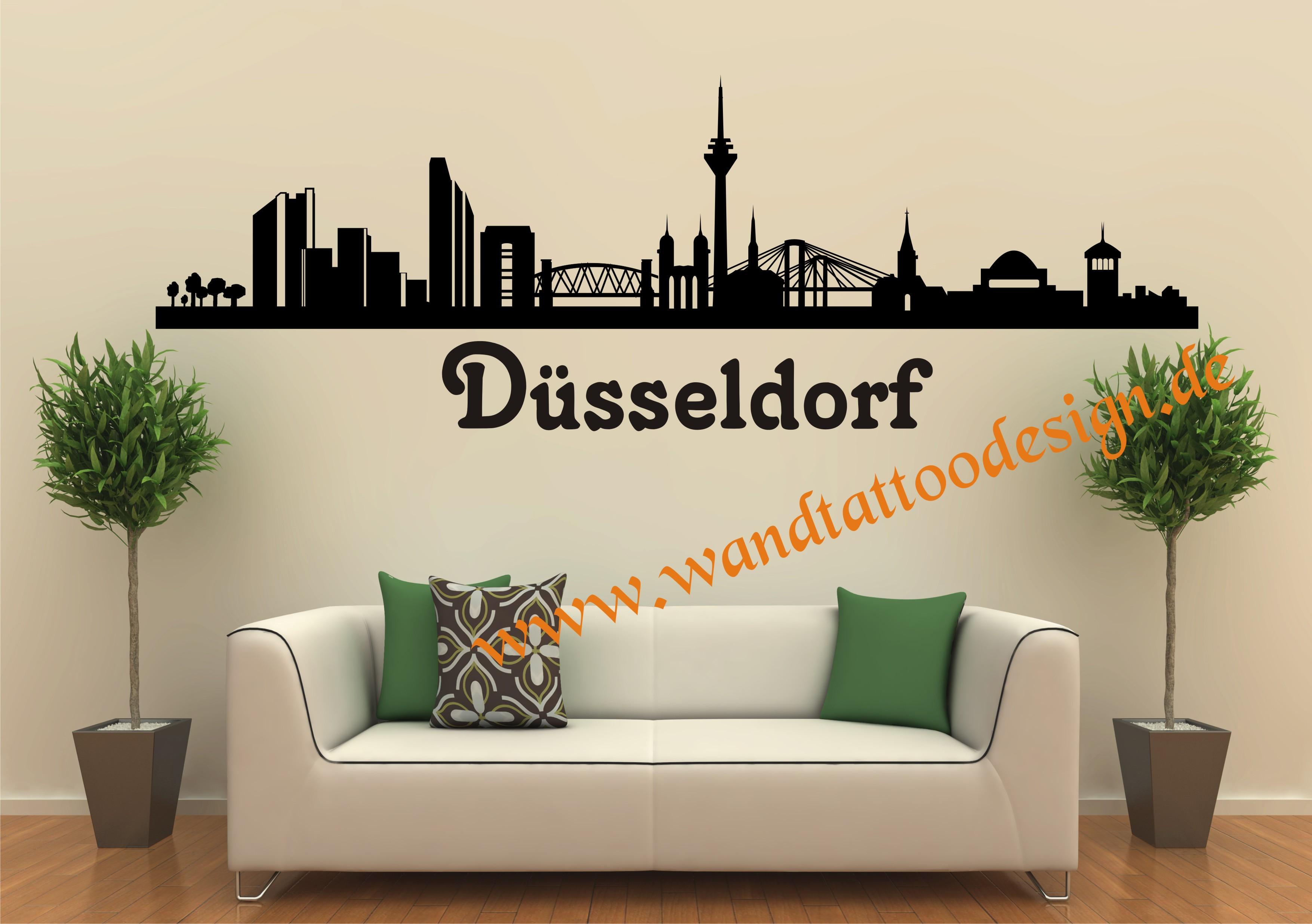 skyline d sseldorf wandtattoo. Black Bedroom Furniture Sets. Home Design Ideas