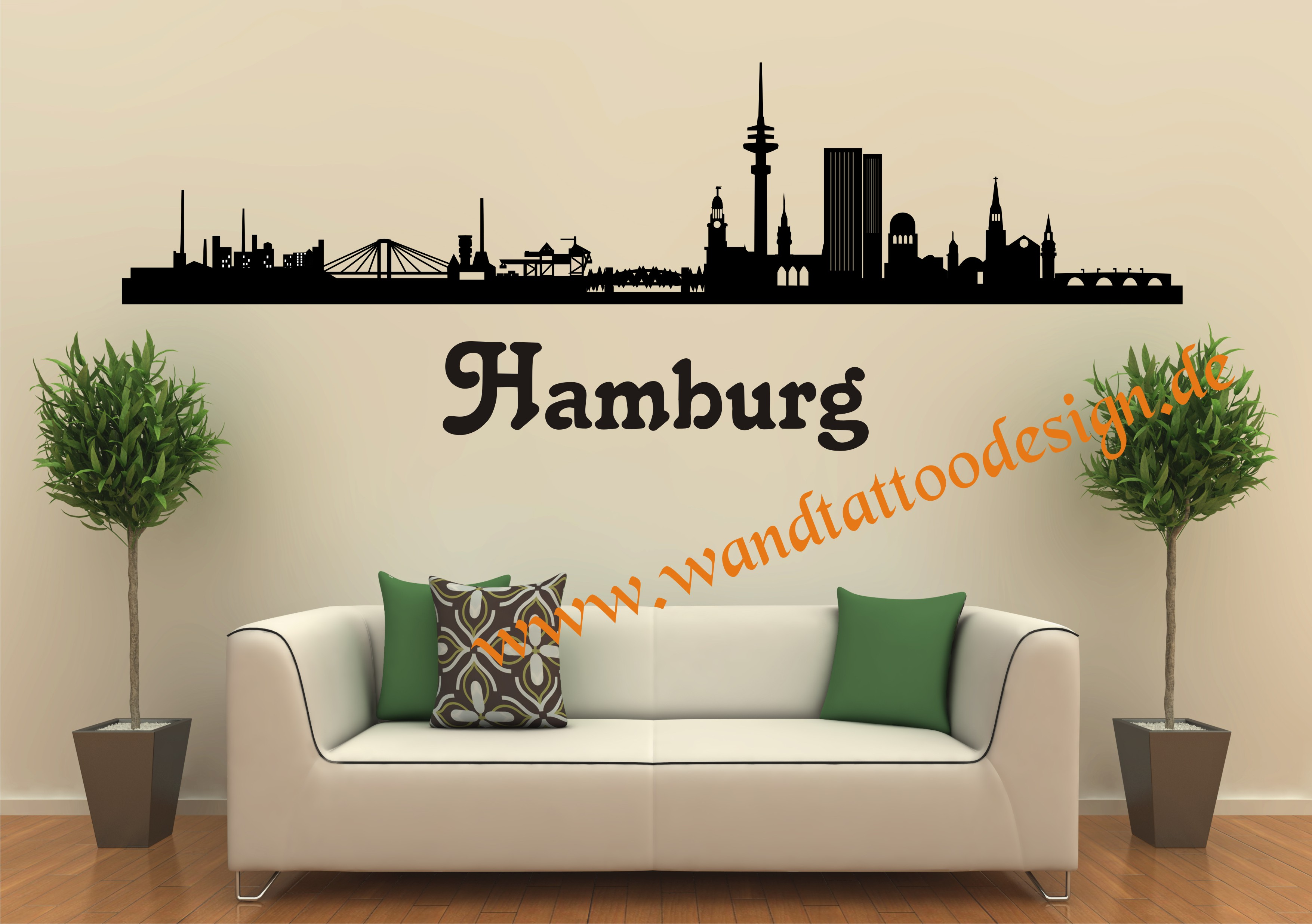 wandtattoo skyline hamburg hh. Black Bedroom Furniture Sets. Home Design Ideas