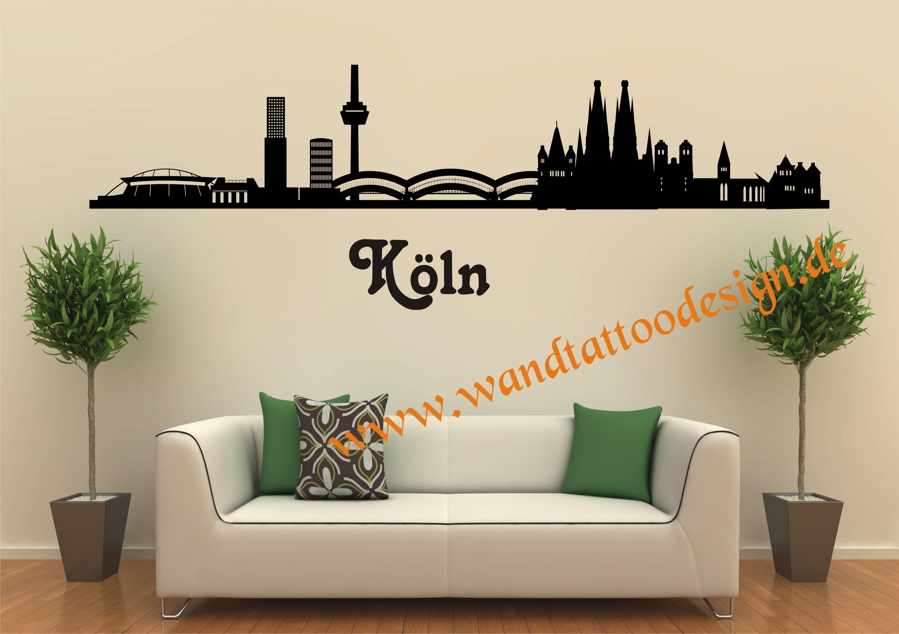 wandtattoo skyline von k ln. Black Bedroom Furniture Sets. Home Design Ideas