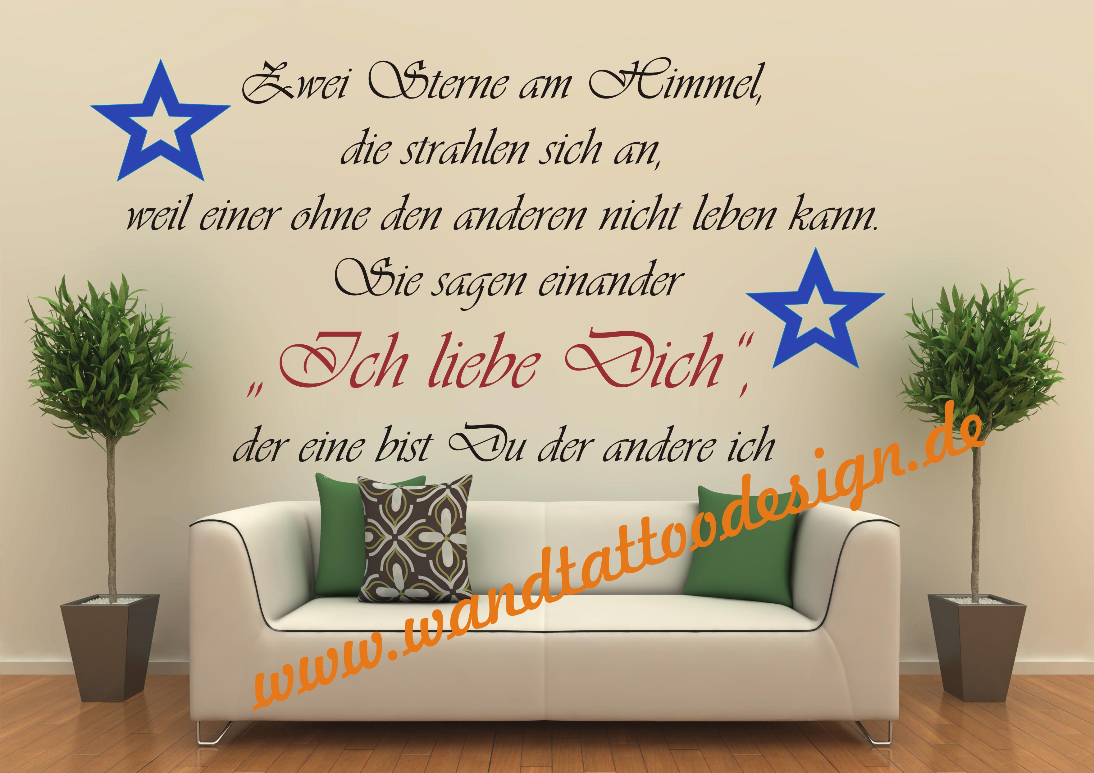 Wandtattoodesignde Wandtattoo Zitat Spruch Zwei Sterne Am Himmel