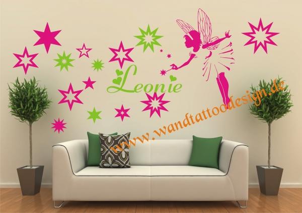 Wandtattoo Kinderzimmer Elfe Fee Fairy mit Sternen und ...