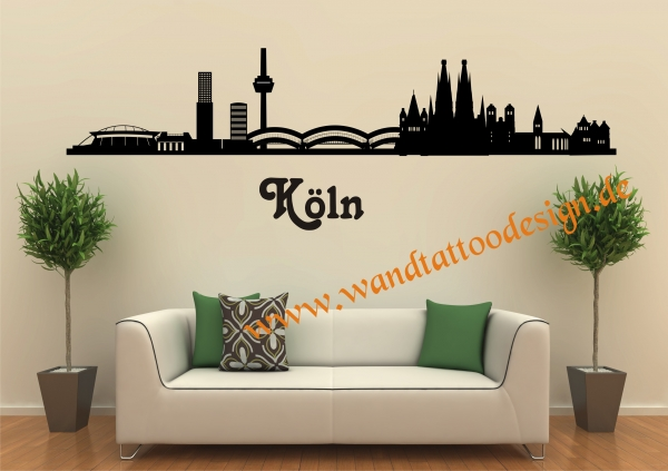 wandtattoo skyline von k ln. Black Bedroom Furniture Sets. Home Design Ideas